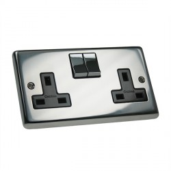 Eurolite Stainless Steel Polished Stainless 2 Gang 13amp DP Switched Socket with Matching Rocker and Black Insert