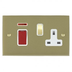 Hamilton Cheriton Victorian Satin Brass 1 Gang Double Pole 45A Red Rocker + 13A Switched Socket with Whit...