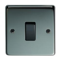 Eurolite Stainless Steel Black Nickel 1 Gang 10amp 2way Switch with Black Insert