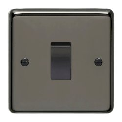 Eurolite Stainless Steel Black Nickel 1 Gang 10amp 2way Switch with Matching Insert