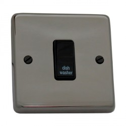 Eurolite Stainless Steel Black Nickel 1 Gang 20amp DP Engraved Appliance Switch with Black Insert