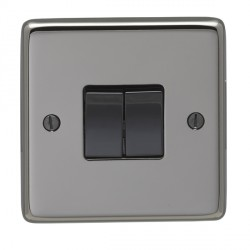 Eurolite Stainless Steel Black Nickel 2 Gang 10amp 2way Switch with Black Insert