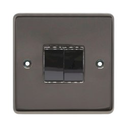Eurolite Stainless Steel Black Nickel 2 Gang 10amp 2way Switch with Matching Insert