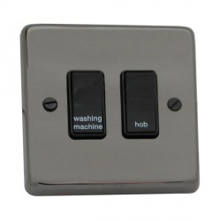 Eurolite Stainless Steel Black Nickel 2 Gang 20amp DP Engraved Appliance Switch with Black Insert