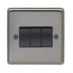 Eurolite Stainless Steel Black Nickel 3 Gang 10amp 2way Switch with Black Insert