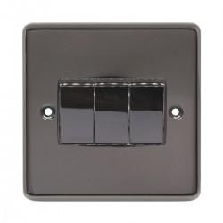 Eurolite Stainless Steel Black Nickel 3 Gang 10amp 2way Switch with Matching Insert