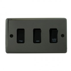 Eurolite Stainless Steel Black Nickel 3 Gang 20amp DP Engraved Appliance Switch with Black Insert