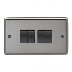 Eurolite Stainless Steel Black Nickel 4 Gang 10amp 2way Switch with Black Insert