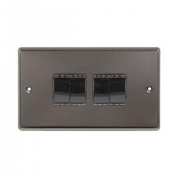 Eurolite Stainless Steel Black Nickel 4 Gang 10amp 2way Switch with Matching Insert