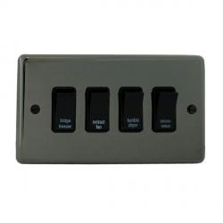 Eurolite Stainless Steel Black Nickel 4 Gang 20amp DP Engraved Appliance Switch with Black Insert