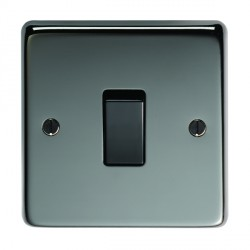 Eurolite Stainless Steel Black Nickel 1 Gang Intermediate Switch with Black Insert