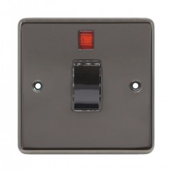 Eurolite Stainless Steel Black Nickel 1 Gang 20amp DP Switch and Neon with Matching Insert