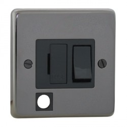 Eurolite Stainless Steel Black Nickel 13amp Switched Fuse Spur Flex Outlet with Black Insert