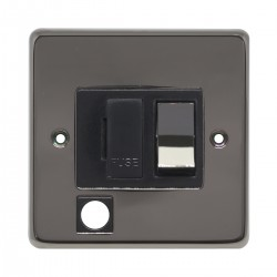 Eurolite Stainless Steel Black Nickel 13amp Switched Fuse Spur Flex Outlet with Matching Rocker and Black Insert