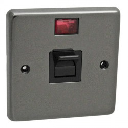 Eurolite Stainless Steel Black Nickel 1 Gang 45amp DP Cooker Switch and Neon with Black Insert