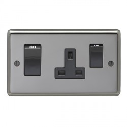 Eurolite Stainless Steel Black Nickel 2 Gang 45amp DP Switch and Socket with Black Insert