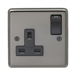 Eurolite Stainless Steel Black Nickel 1 Gang 13amp DP Switched Socket with Black Insert