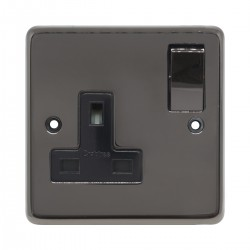 Eurolite Stainless Steel Black Nickel 1 Gang 13amp DP Switched Socket with Matching Rocker and Black Insert
