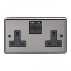 Eurolite Stainless Steel Black Nickel 2 Gang 13amp DP Switched Socket with Black Insert