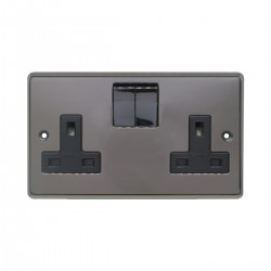 Eurolite Stainless Steel Black Nickel 2 Gang 13amp DP Switched Socket with Matching Rocker and Black Insert