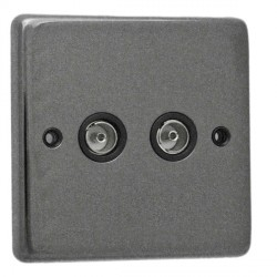 Eurolite Stainless Steel Black Nickel 2 Gang TV Outlet with Black Insert