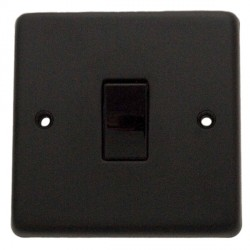 Eurolite Stainless Steel Matt Black 1 Gang 10amp 2way Switch with Black Insert