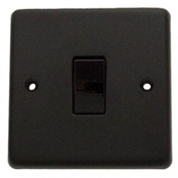 Eurolite Stainless Steel Matt Black 1 Gang 10amp 2way Switch with Black Insert