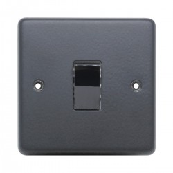 Eurolite Stainless Steel Matt Black 1 Gang 10amp 2way Switch with Black Nickel Insert