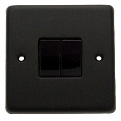 Eurolite Stainless Steel Matt Black 2 Gang 10amp 2way Switch with Black Insert