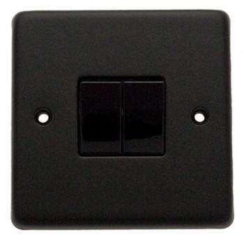 Eurolite Stainless Steel Matt Black 2 Gang 10amp 2way Switch with Black Insert