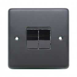 Eurolite Stainless Steel Matt Black 2 Gang 10amp 2way Switch with Black Nickel Insert