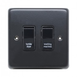 Eurolite Stainless Steel Matt Black 2 Gang 20amp DP Engraved Appliance Switch with Black Insert