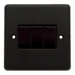 Eurolite Stainless Steel Matt Black 3 Gang 10amp 2way Switch with Black Insert