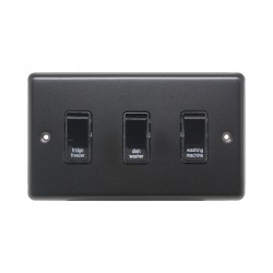 Eurolite Stainless Steel Matt Black 3 Gang 20amp DP Engraved Appliance Switch with Black Insert