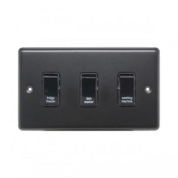 Eurolite Stainless Steel Matt Black 3 Gang 20amp DP Engraved Appliance Switch with Black Insert