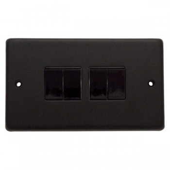 Eurolite Stainless Steel Matt Black 4 Gang 10amp 2way Switch with Black Insert