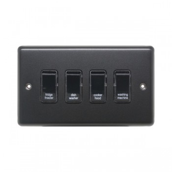 Eurolite Stainless Steel Matt Black 4 Gang 20amp DP Engraved Appliance Switch with Black Insert