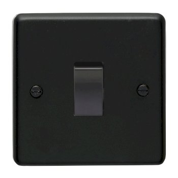 Eurolite Stainless Steel Matt Black 1 Gang Intermediate Switch with Black Insert