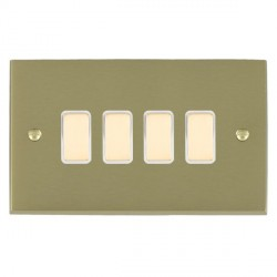 Hamilton Cheriton Victorian Satin Brass 4 Gang Multi way Touch Master Trailing Edge with White Insert