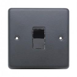 Eurolite Stainless Steel Matt Black 1 Gang Intermediate Switch with Black Nickel Insert