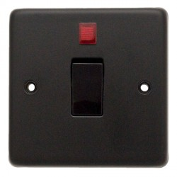 Eurolite Stainless Steel Matt Black 1 Gang 20amp DP Switch and Neon with Black Insert