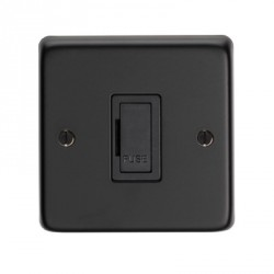 Eurolite Stainless Steel Matt Black 13amp Unswitched Fuse Spur with Black Insert