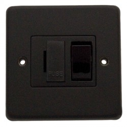 Eurolite Stainless Steel Matt Black 13amp Switched Fuse Spur with Black Insert