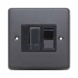 Eurolite Stainless Steel Matt Black 13amp Switched Fuse Spur with Black Nickel Insert