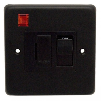 Eurolite Stainless Steel Matt Black 13amp Switched Fuse Spur and Neon with Black Insert