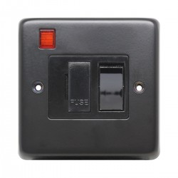 Eurolite Stainless Steel Matt Black 13amp Switched Fuse Spur and Neon with Black Nickel Insert