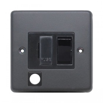 Eurolite Stainless Steel Matt Black 13amp Switched Fuse Spur Flex Outlet with Black Insert