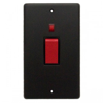 Eurolite Stainless Steel Matt Black 2 Gang 45amp DP Cooker Switch and Neon with Black Insert