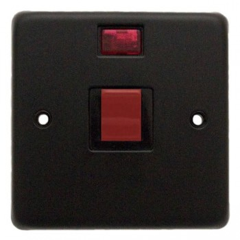 Eurolite Stainless Steel Matt Black 1 Gang 45amp DP Cooker Switch and Neon with Black Insert