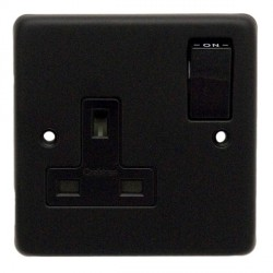Eurolite Stainless Steel Matt Black 1 Gang 13amp DP Switched Socket with Black Insert